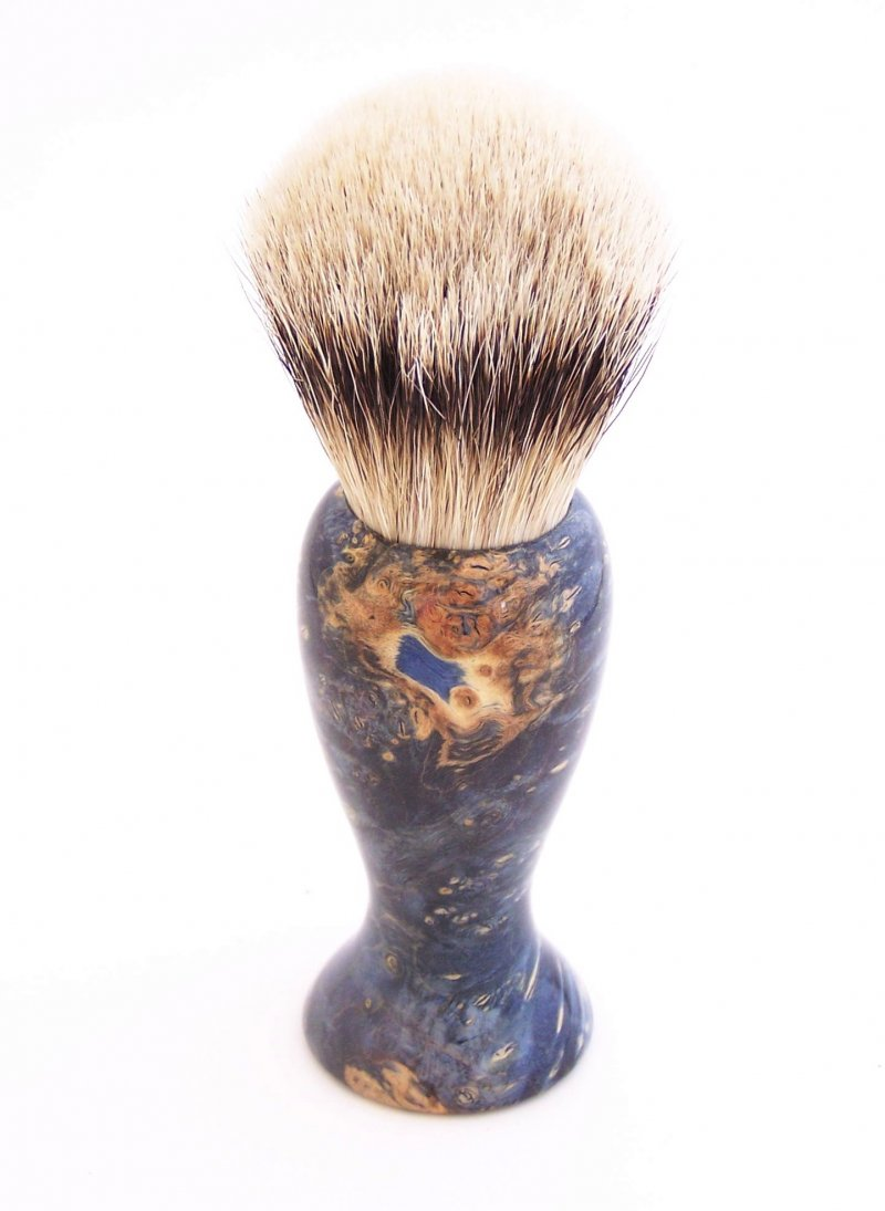 Image 1 of Blue Box Elder Burl Wood 22mm Super Silvertip Badger Shaving Brush (B4)