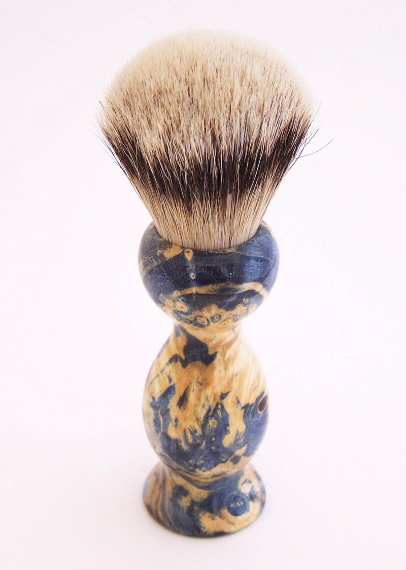 Image 0 of Blue Box Elder Wood 22mm Super Silvertip Badger Shaving Brush(Handmade in USA)B2