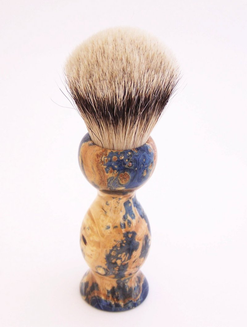 Image 1 of Blue Box Elder Wood 22mm Super Silvertip Badger Shaving Brush(Handmade in USA)B2