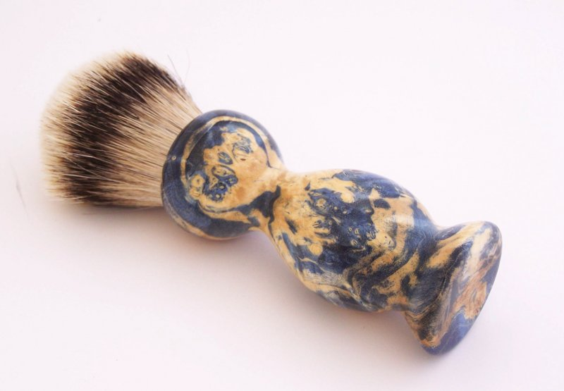 Image 2 of Blue Box Elder Wood 22mm Super Silvertip Badger Shaving Brush(Handmade in USA)B2