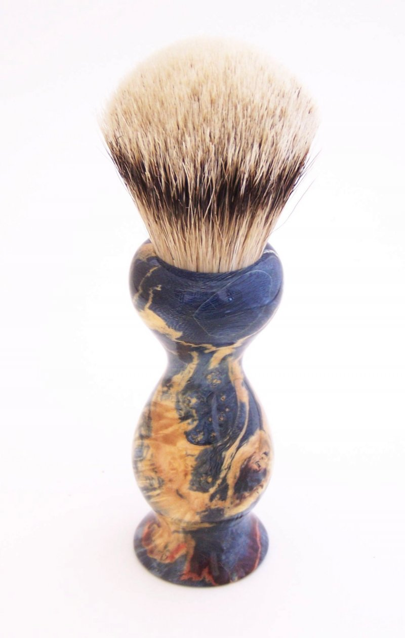 Image 0 of Blue Box Elder Wood 22mm Super Silvertip Badger Shaving Brush(Handmade in USA)B3
