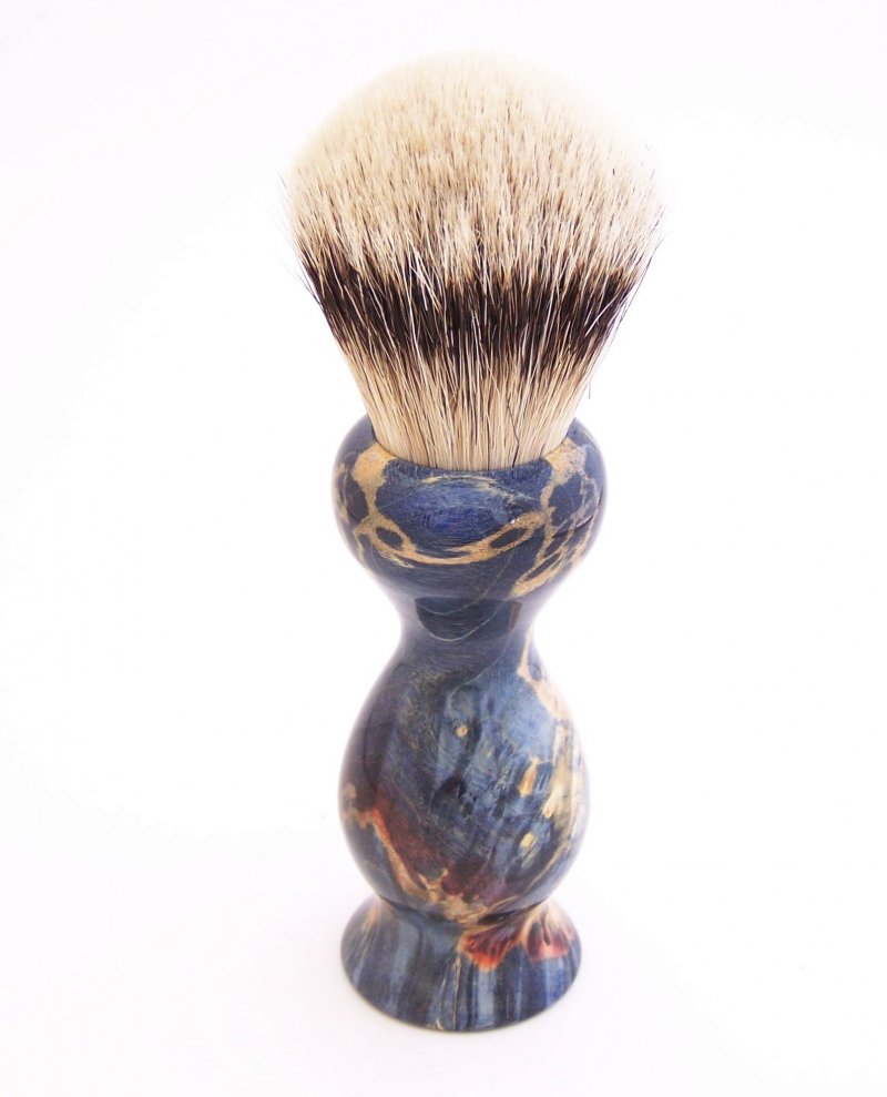 Image 1 of Blue Box Elder Wood 22mm Super Silvertip Badger Shaving Brush(Handmade in USA)B3