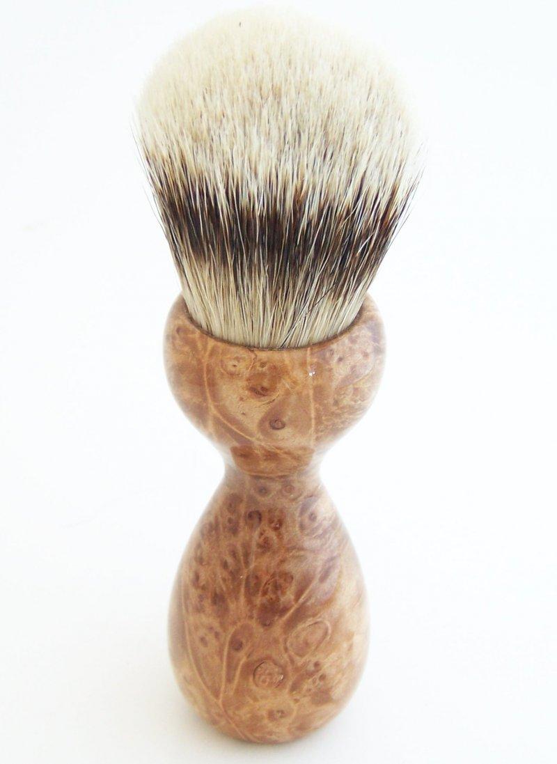 Image 2 of Maple Burl Wood 26mm Silvertip Badger Shaving Brush (Handmade) M13