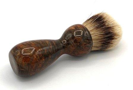 Image 1 of Copper Maple Burl Wood 26mm Silvertip Badger Shaving Brush (Handmade) M12