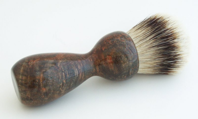 Image 1 of Copper Maple Burl Wood 26mm Silvertip Badger Shaving Brush (Handmade) M12