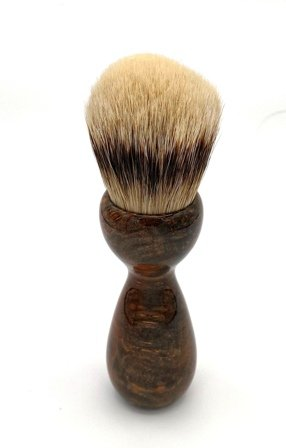 Image 2 of Copper Maple Burl Wood 26mm Silvertip Badger Shaving Brush (Handmade) M12