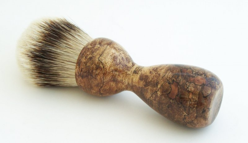 Image 0 of Spalted Maple Burl Wood 26mm Silvertip Badger Shaving Brush (Handmade) M11