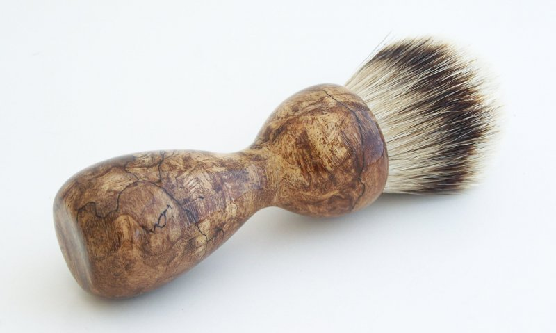 Image 1 of Spalted Maple Burl Wood 26mm Silvertip Badger Shaving Brush (Handmade) M11