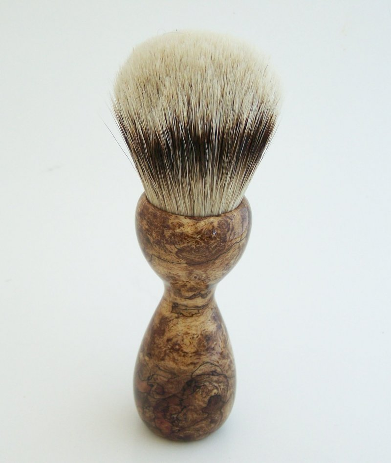Image 2 of Spalted Maple Burl Wood 26mm Silvertip Badger Shaving Brush (Handmade) M11