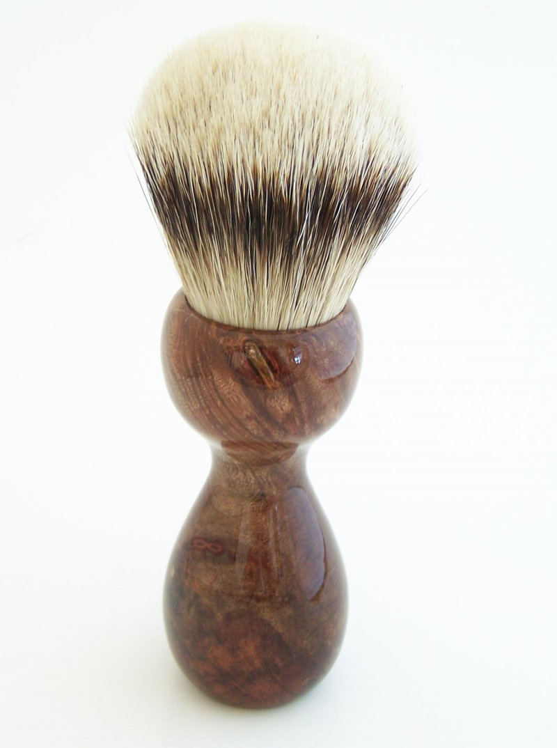 Image 2 of Redwood Burl Wood 26mm Silvertip Badger Shaving Brush (Handmade) R1