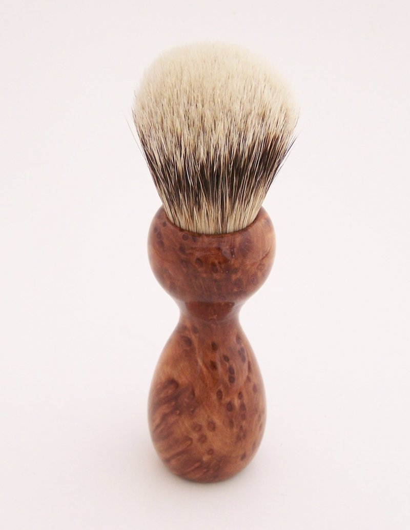 Image 2 of Redwood Burl Wood 20mm Silvertip Badger Shaving Brush (Handmade) R1