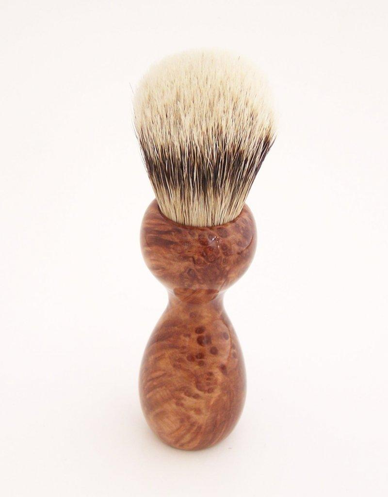 Image 2 of Redwood Burl Wood 20mm Silvertip Badger Shaving Brush (Handmade) R2