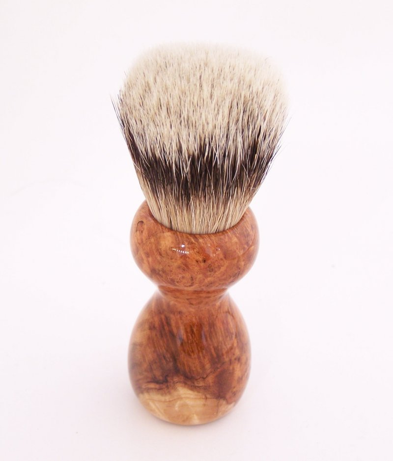 Image 2 of Cherry Burl Wood 20mm Silvertip Badger Shaving Brush (Handmade) C1