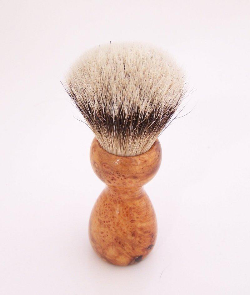 Image 2 of Cherry Burl Wood 20mm Silvertip Badger Shaving Brush (Handmade) C2