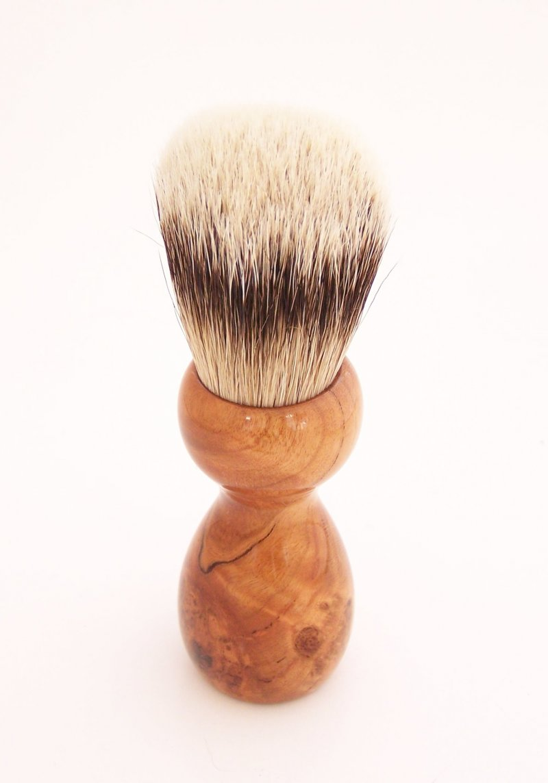 Image 2 of Cherry Burl Wood 20mm Silvertip Badger Shaving Brush (Handmade) C3