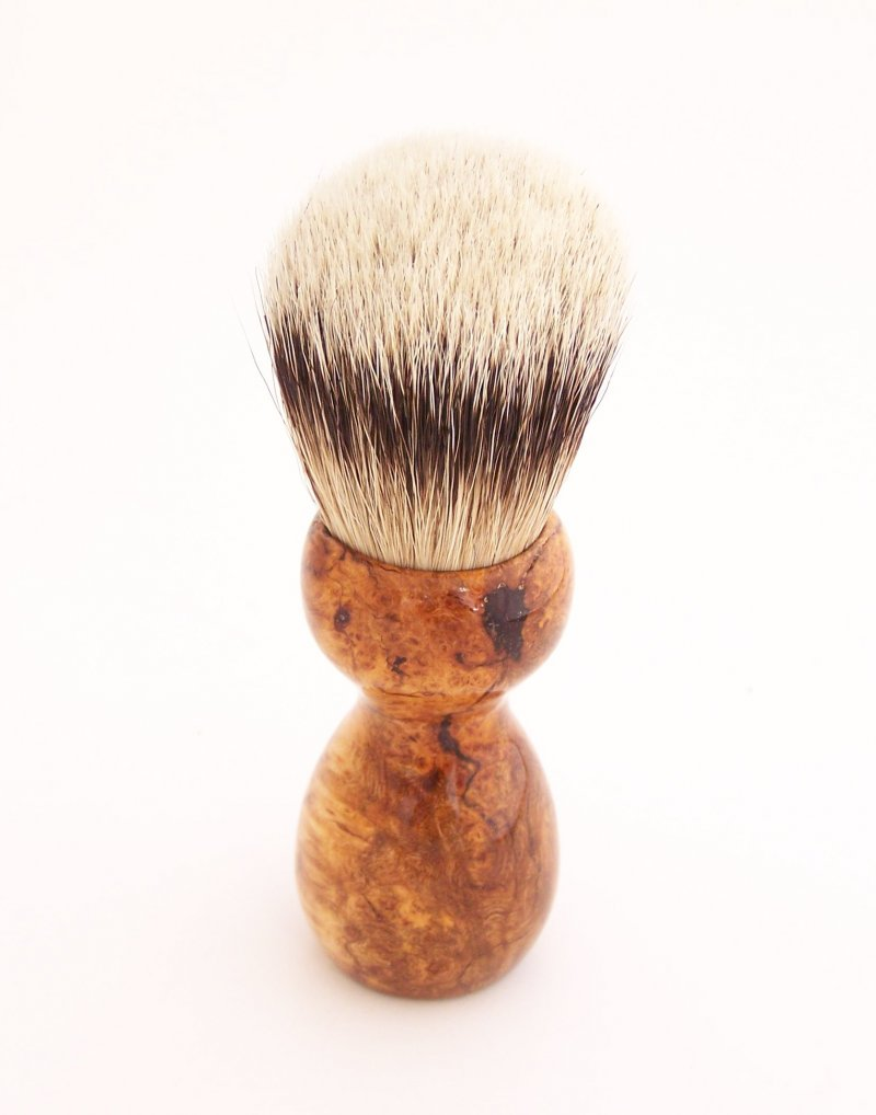 Image 1 of Cherry Burl Wood 20mm Silvertip Badger Shaving Brush (Handmade) C4
