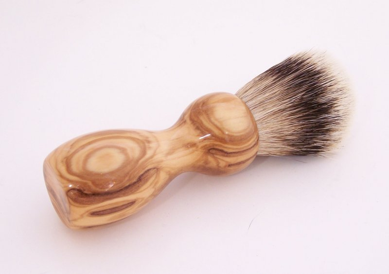 Image 0 of Olivewood 20mm Silvertip Badger Shaving Brush (Handmade) O1