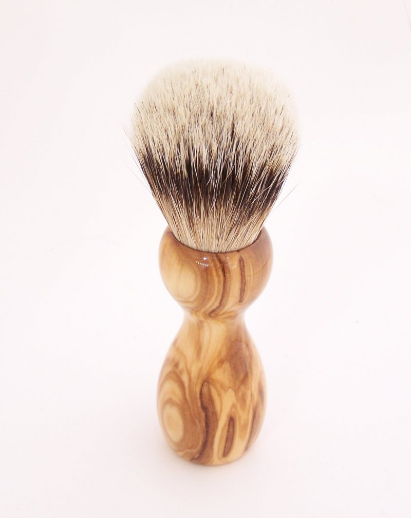 Image 2 of Olivewood 20mm Silvertip Badger Shaving Brush (Handmade) O1