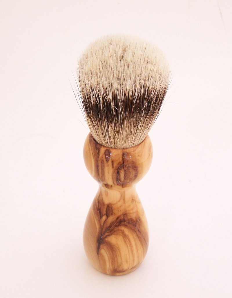 Image 2 of Olivewood 20mm Silvertip Badger Shaving Brush (Handmade) O2