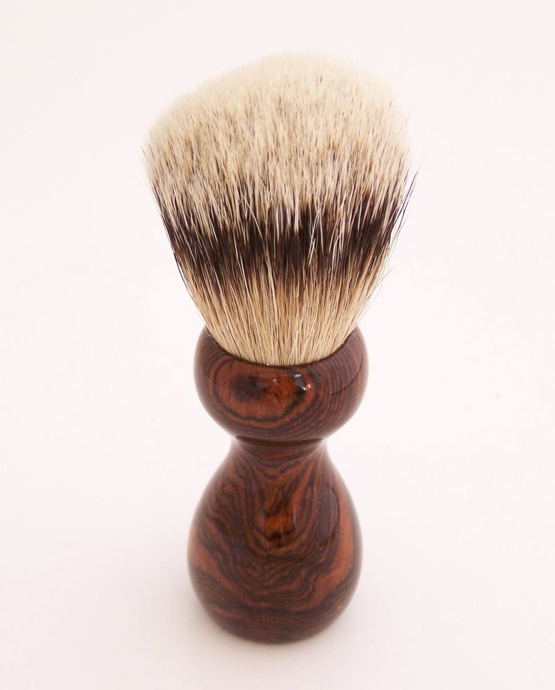 Image 2 of Bocote Wood 20mm Silvertip Badger Shaving Brush (Handmade) B1
