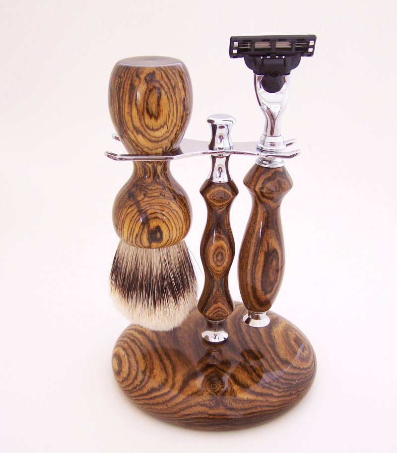 Image 0 of Shaving Set:  Bocote Wood 26mm Silvertip Brush, Mach 3 Razor & Stand (B1)