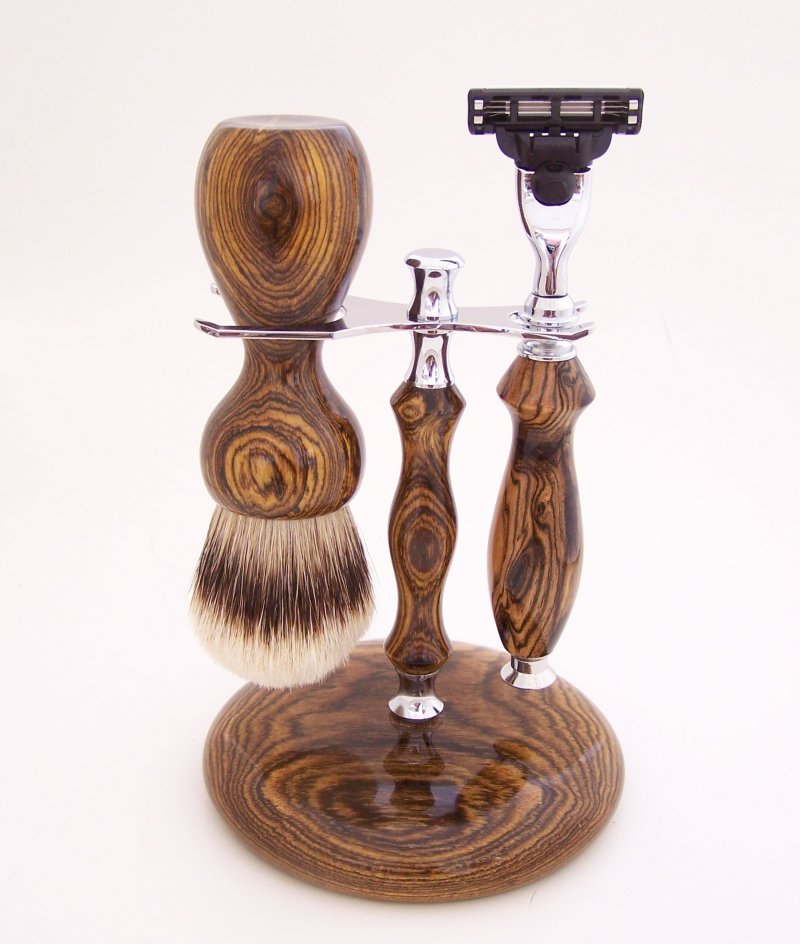 Image 0 of Shaving Set:  Bocote Wood 26mm Silvertip Brush, Mach 3 Razor & Stand (B2)