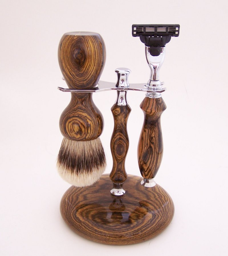 Image 1 of Shaving Set:  Bocote Wood 26mm Silvertip Brush, Mach 3 Razor & Stand (B2)