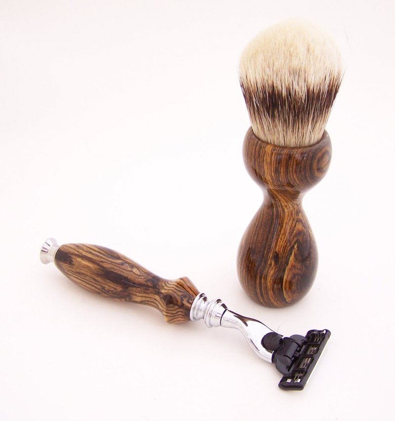 Image 2 of Shaving Set:  Bocote Wood 26mm Silvertip Brush, Mach 3 Razor & Stand (B2)