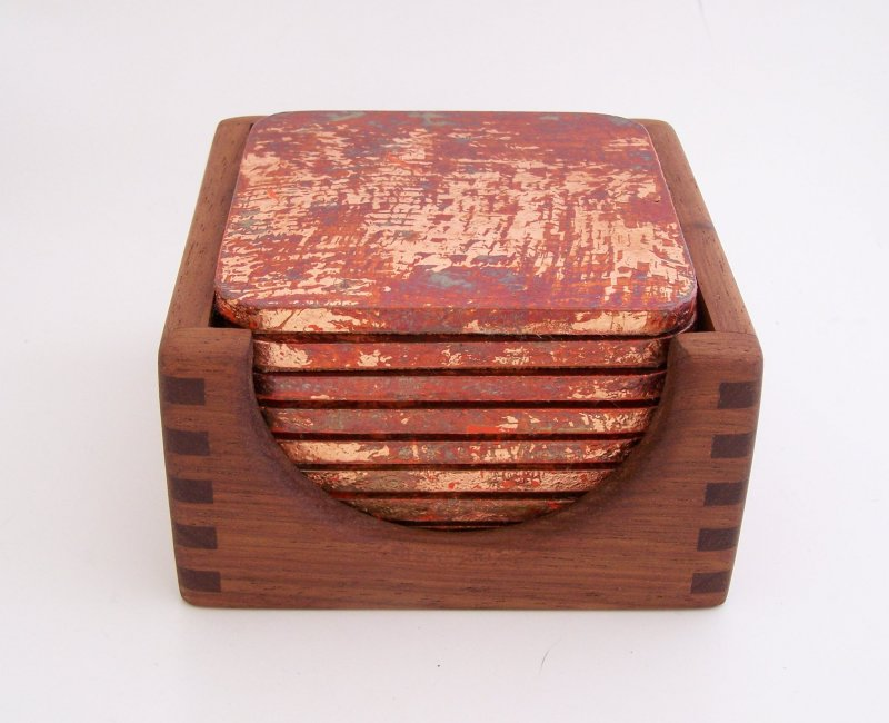 Image 0 of 8 Copper Leaf Gilded and Patinated Coasters with Peruvian Walnut Wood Holder Set