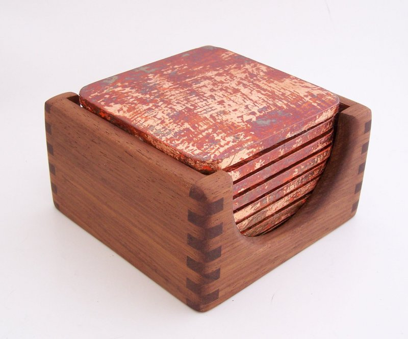 Image 1 of 8 Copper Leaf Gilded and Patinated Coasters with Peruvian Walnut Wood Holder Set