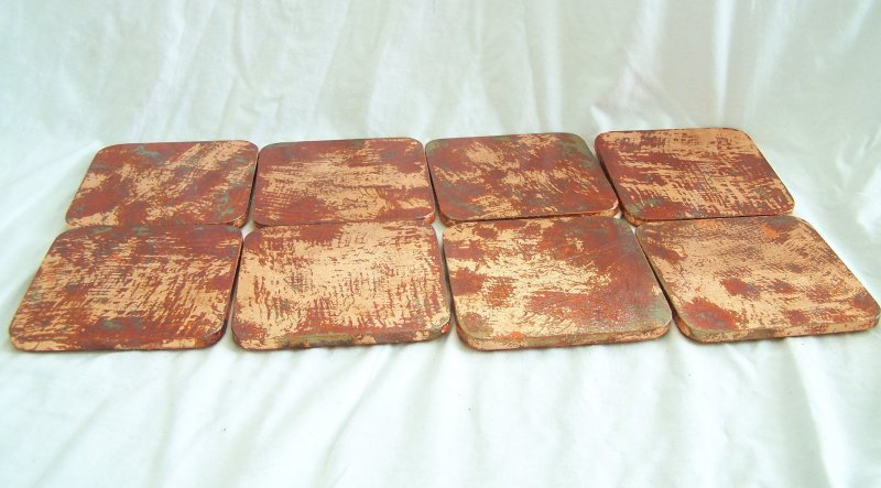 Image 2 of 8 Copper Leaf Gilded and Patinated Coasters with Peruvian Walnut Wood Holder Set