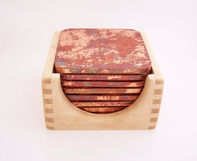 Image 0 of 8 Copper Leaf Gilded and Patinated Coasters with Birds Eye Maple Wood Holder Set
