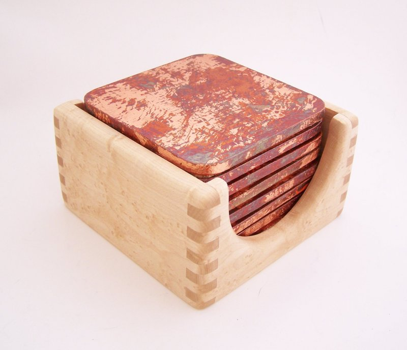 Image 1 of 8 Copper Leaf Gilded and Patinated Coasters with Birds Eye Maple Wood Holder Set