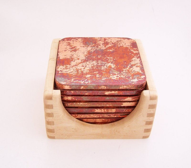 Image 2 of 8 Copper Leaf Gilded and Patinated Coasters with Birds Eye Maple Wood Holder Set