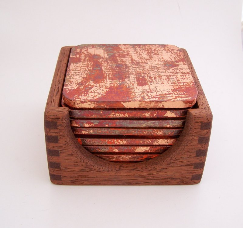 Image 0 of 8 Copper Leaf Gilded & Patinated Coasters with African Mahogany Holder Set (C12