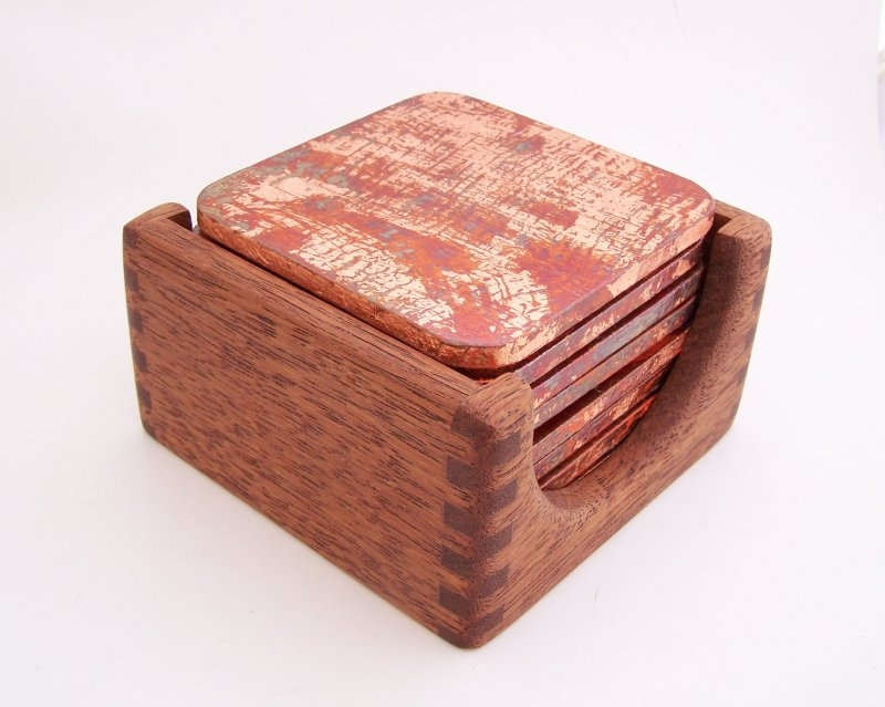 Image 1 of 8 Copper Leaf Gilded & Patinated Coasters with African Mahogany Holder Set (C12