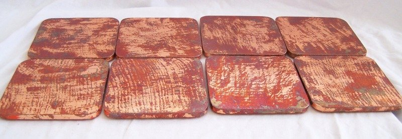 Image 2 of 8 Copper Leaf Gilded & Patinated Coasters with African Mahogany Holder Set (C12