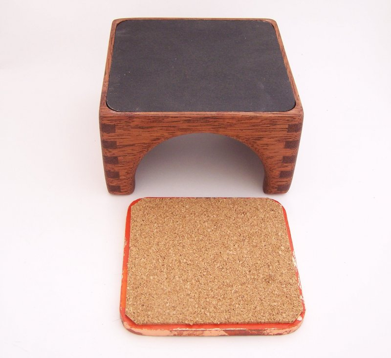 Image 3 of 8 Copper Leaf Gilded & Patinated Coasters with African Mahogany Holder Set (C12