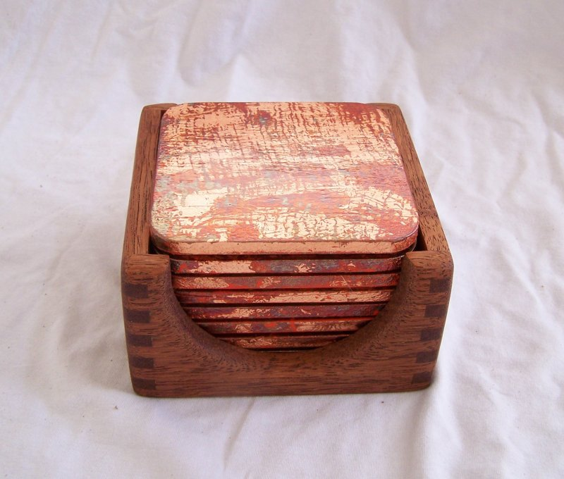 Image 4 of 8 Copper Leaf Gilded & Patinated Coasters with African Mahogany Holder Set (C12