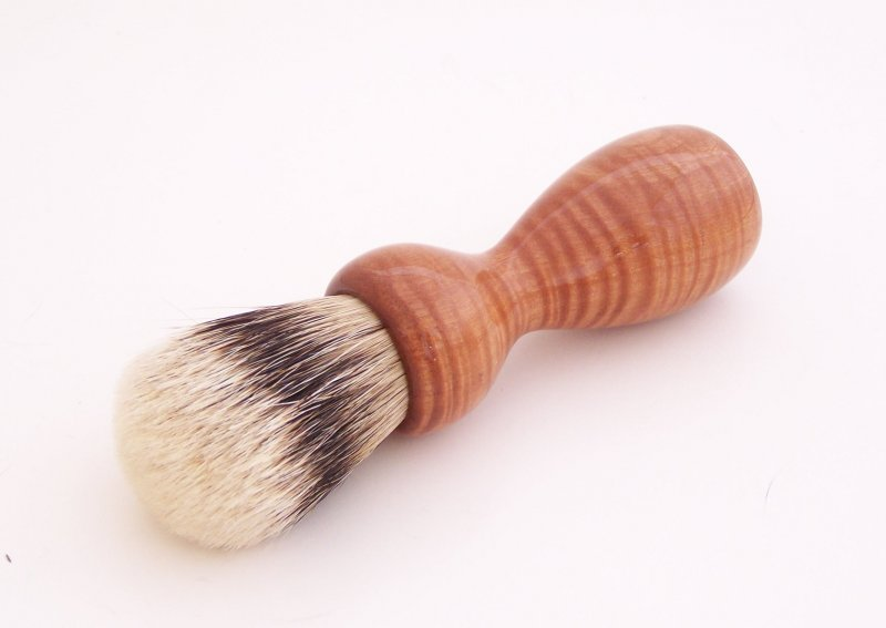 Image 0 of Curly Red Milkwood Wood 20mm Super Silvertip Badger Hair Shaving Brush Handle M1