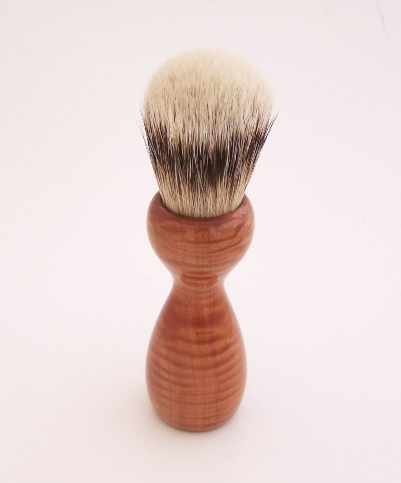 Image 2 of Curly Red Milkwood Wood 20mm Super Silvertip Badger Hair Shaving Brush Handle M1