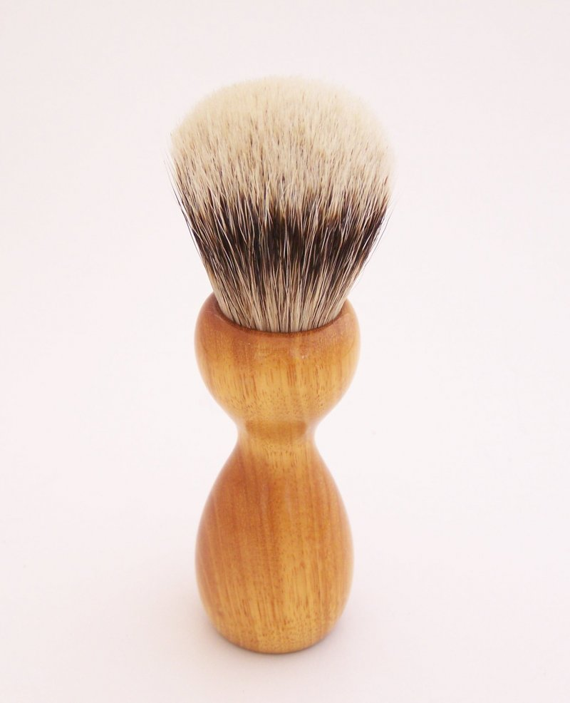 Image 2 of Orange Osage Wood 20mm Super Silvertip Badger Hair Shaving Brush Handle (O1)