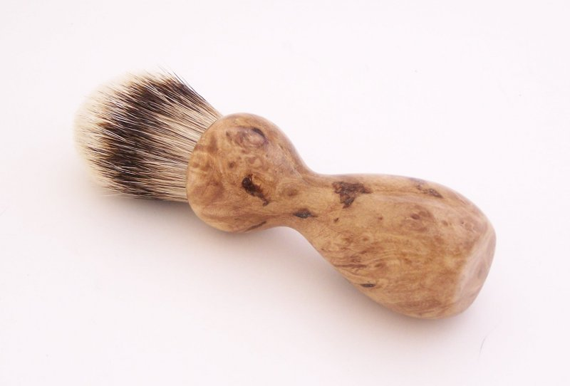 Image 1 of Maple Burl Wood 20mm Super Silvertip Badger Hair Shaving Brush Handle (M1)