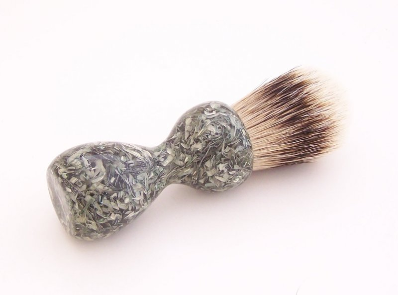 Image 1 of Shredded US Currency 20mm Super Silvertip Badger Hair Shaving Brush Handle C1