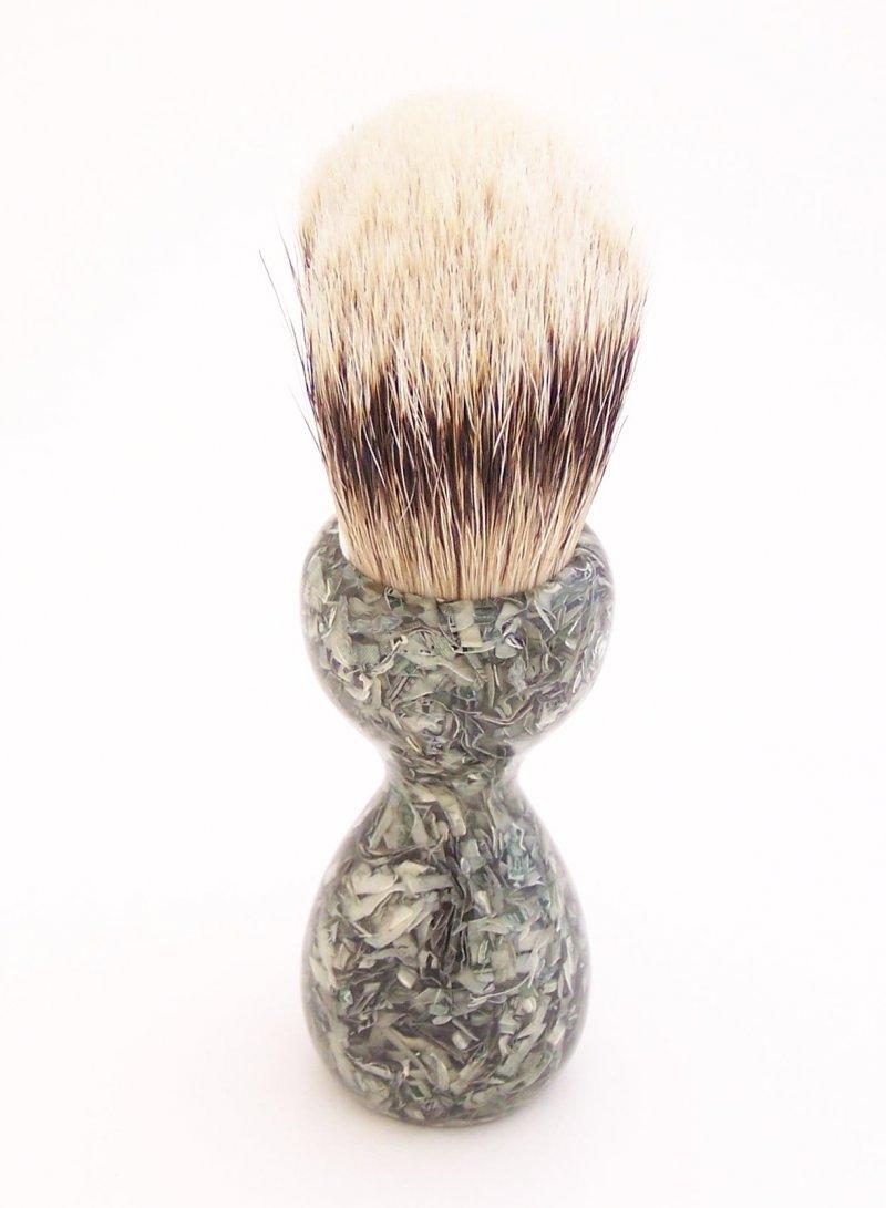 Image 2 of Shredded US Currency 20mm Super Silvertip Badger Hair Shaving Brush Handle C1