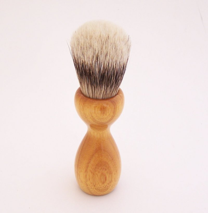 Image 2 of Orange Osage Wood 20mm Super Silvertip Badger Hair Shaving Brush Handle (O2)