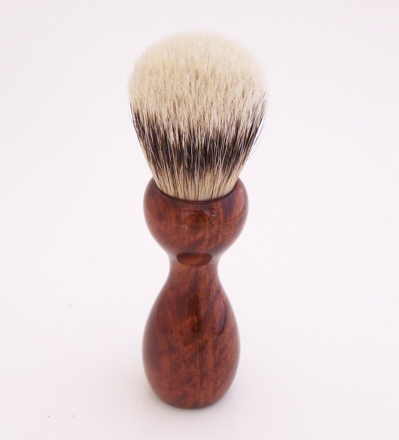 Image 1 of Curly Narra Wood 20mm Super Silvertip Badger Hair Shaving Brush Handle (N1)