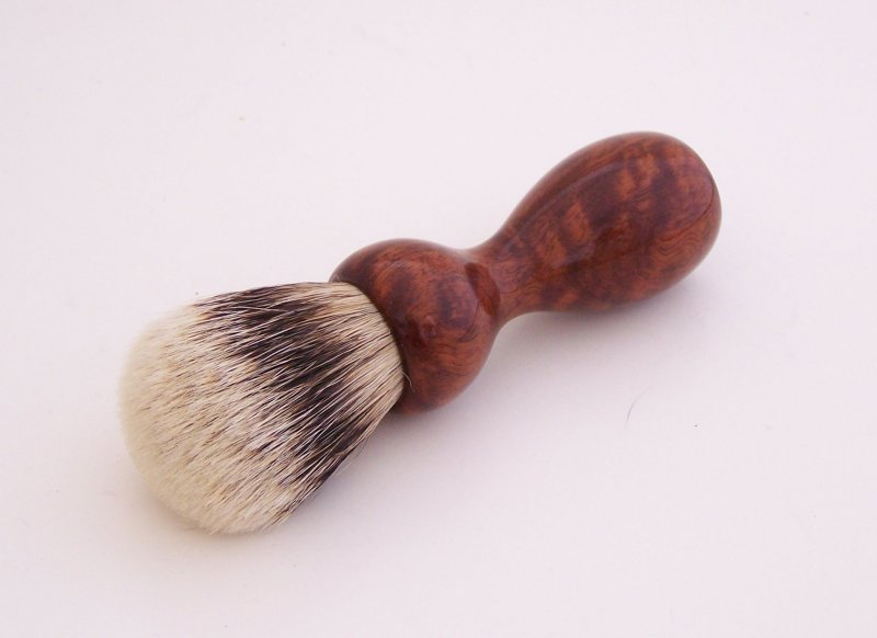 Image 2 of Curly Narra Wood 20mm Super Silvertip Badger Hair Shaving Brush Handle (N1)