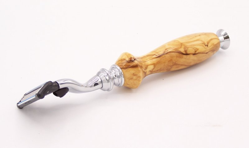 Image 2 of Olivewood Mach 3 Razor Shaving Handle (Handmade in USA) O2