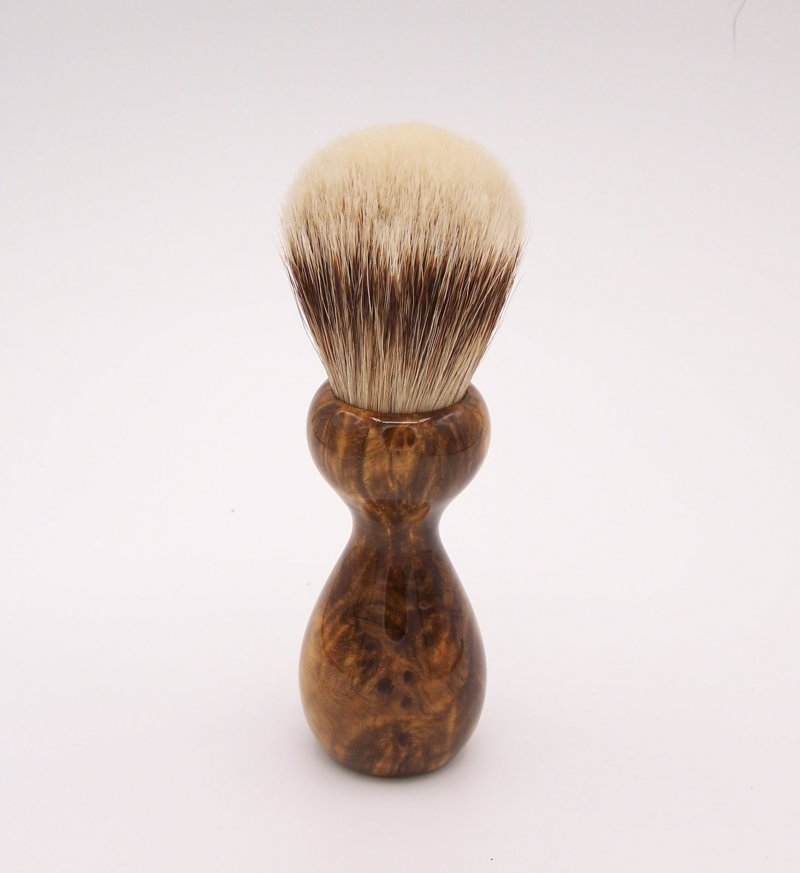 Image 2 of Gmelia Burl Wood 24mm Super Silvertip Badger Shaving Brush (G1)